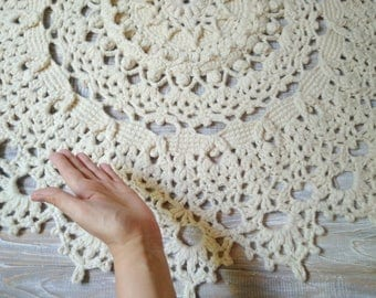 Doily crochet rug Winter crochet rug Crochet carpet Wool giant doily Doily carpet Rug 39 inch Crochet lace rug Circle crochet rug Circle rug