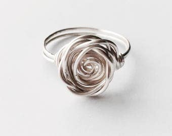 Sterling Silver Ring | Rose Ring | Silver Flower Ring | Rose Shaped Ring | Copper Ring | Silver Stacking Rings | Birthday Gift | Bridesmaid