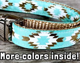 "Aztec 5/8"" Dog Collar, Teal Dog Collar, Metal Buckle, Aztec Dog Collar, Tribal Dog Collar, Gold Foil Dog Collar"