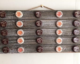 Vintage Soda Cap Greywash Rectangular Wall Hanging-Root Beer and Orange Soda