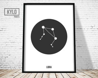 Libra Print, Libra Constellation Art, Zodiac Poster, Astrology Wall art, Constellation Print, Scandinavian Printable, Geometric Art Print