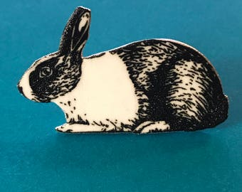 Black and White Bunny Rabbit Brooch or Pin