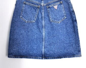 Vintage 90s GUESS by Georges Marciano blue denim skirt, short denim skirt, jeans skirt, Made in USA