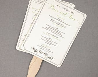 Whimsical Greenery Romantic Garden 6x8 Wedding Ceremony Program Fans - TE1
