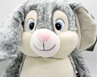Bunny, personalised, baby gift,Cubbie,soft toy,long floppy ears,soft fluffy grey fur,birthday,gift new baby, birth,baby shower, Easter