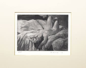 """Signed and Matted Intaglio Print (Etching): Nude Woman In Repose 5""""x7"""" on 100% cotton archival paper"""