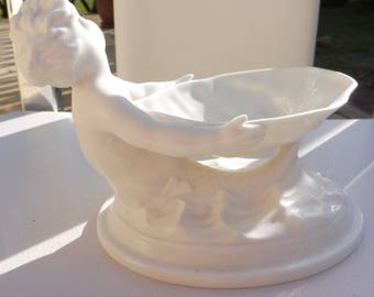 Royal Worcester Mermaid Salt Cellar/Shell Dish White Porcelain #349.