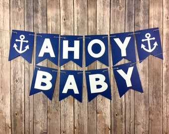 Nautical Baby Shower Banner, Ahoy Baby, Pirate Baby Shower, Photo Prop
