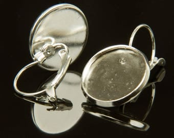5 pairs of stud earrings for cabochons 16mm silver