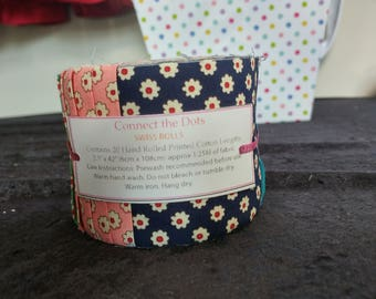 Jelly Roll 100% Cotton Fabric Quilting Strips 20 Pieces _Connect the Dots