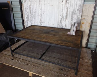 industrial coffee table furniture raw wood and steel