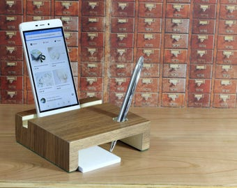 desk organizer , Charging station, iPad Stand, iphone stand, gift for men, personalized, docking station, gift for him, desk accessories