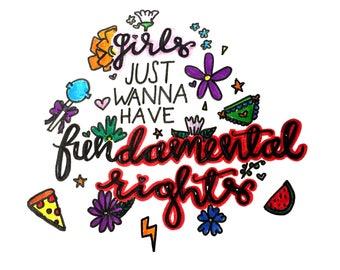 Girls Just Wanna Have Fundamental Rights A5 Print