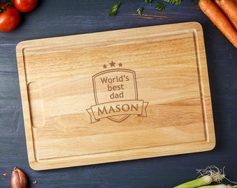 Engraved Wooden Cutting Board - World's Best Dad - Customised with Name of Your Choice - Gift for Fathers - Father's Day Gift - Rubberwood
