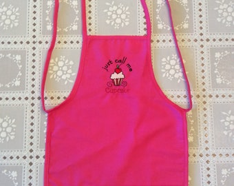 Pink Apron, cupcake apron, pink girls apron, pink kids apron, pink childs apron, baking apron, kids apron, childs apron