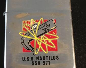 USS Nautilus Submarine SSN 571 Zippo Full Size  Lighter - 1977 Used