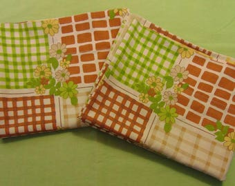 Canon Monticello standard pillow case set / Greens, yellows, and browns