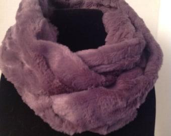 Purple Faux Fur Infinity Scarf