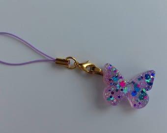 Lilac glitter resin butterfly phone charm, bag charm , zipper charm, planner charm