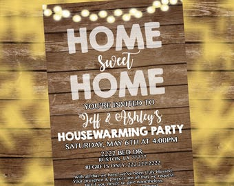 Home sweet Home invitation, Rustic House warming invitation, House warming party invitation, House warming Invitation