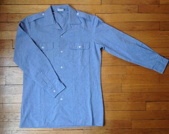 french Marine Nationale Shirt (sky blue size S / M made in France shoulder pads pockets pockets)