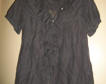 Vintage J CREW Gray Silk Blend Ruffled Blouse Size XS