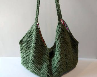 Crocheted Summer bag handmade bag crossbody tote Cotton purse Green shoulder bag women's bag tote bag beach bag gift for her