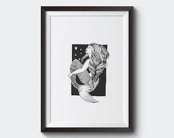 Mermaid Illustration • A4 Original Fine Art Print