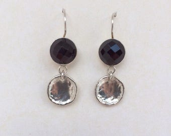 Silpada Retired Sterling Rose Cut Garnet with Hammered Disc Drop