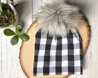 Buffalo plaid pom hat | slouchy beanie | fur pom beanie | black and white hat | plaid pom hat