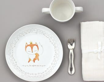Large customizable Fox porcelain plate