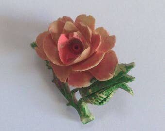 Beautiful Vintage 1940's Hand Painted Celluloid Rose Brooch Pins, Rose Brooch, Flower Jewelry