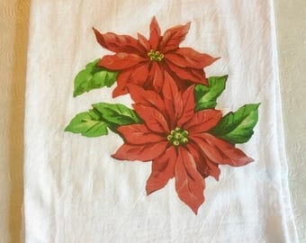 Poinsettia Flour Sack Towel