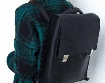 MINIMALISTIC LEATHER BACKPACK, Black backpack wor women, Leather bag for men, Leather business bag women,  Black vintage backpack, Large bag