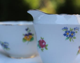 Vintage Crown Staffordshire Multicolored Floral Creamer and Sugar