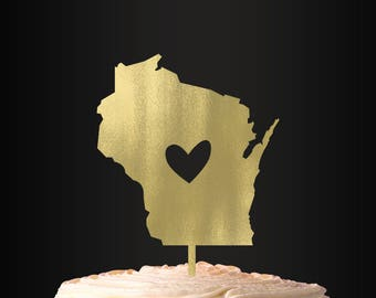 Wedding Cake Topper, Personalized Cake Topper, Wisconsin, Heart, Cake Topper, Wedding Decor, Cake Decor, Milwaukee, Madison
