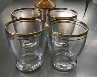 Gold Rimmed Shot Glasses • Set of 4 gold Rimmed Shot Glasses •