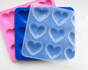 9-Cavity Shiny Silicone Heart Mold - DIY resin heart
