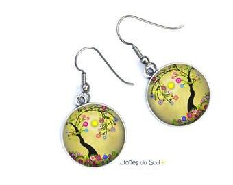Boucles d'oreilles Jaune,  l'arbre ,Crochets  Anti-allergique Cabochon en résine ,/ ref.308