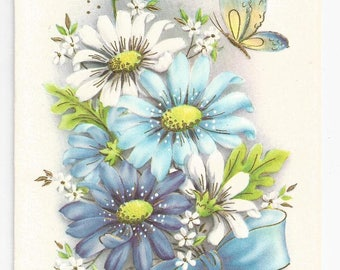 """1960s Floral Get Well Card """"To Cheer You"""""""