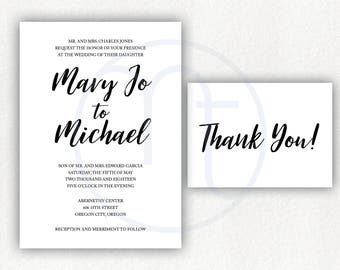 Printable, Customized Simple Wedding Invitation, Thank You Card, Black and White