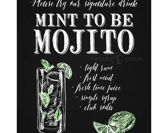 Mint to Be Mojito, signature drink printable, chalkboard style