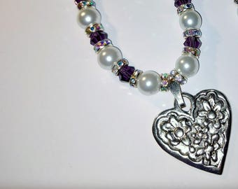 Heart Necklace With Pearls & More