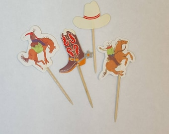 Cowboy/rodeo theme cupcake toppers, set of 12.