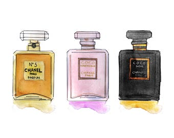 perfume art print - watercolor chanel art - perfume bottle - fashion illustration and make up art - gold pink and black