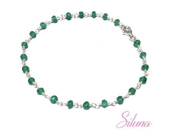 Chain-green onyx 925 sterling silver Rosary bracelet