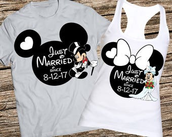 Just married disney shirt and tank, Disney wedding tank top, Disney honeymoon tanks, Bride tank and groom shirt, Anniversary shirt and tank