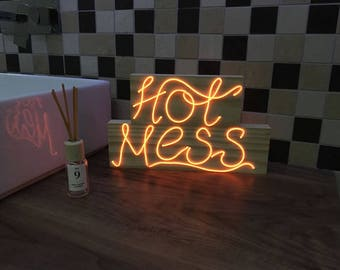 Neon 'HOT MESS' Sign