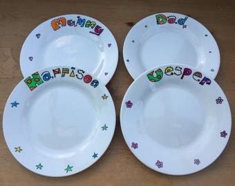 Personalised hand painted side plate