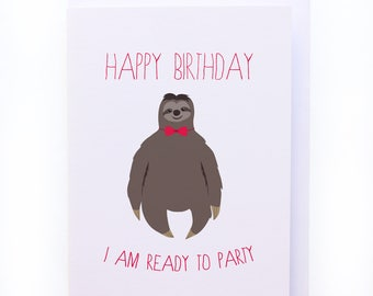 Party sloth - Greeting card